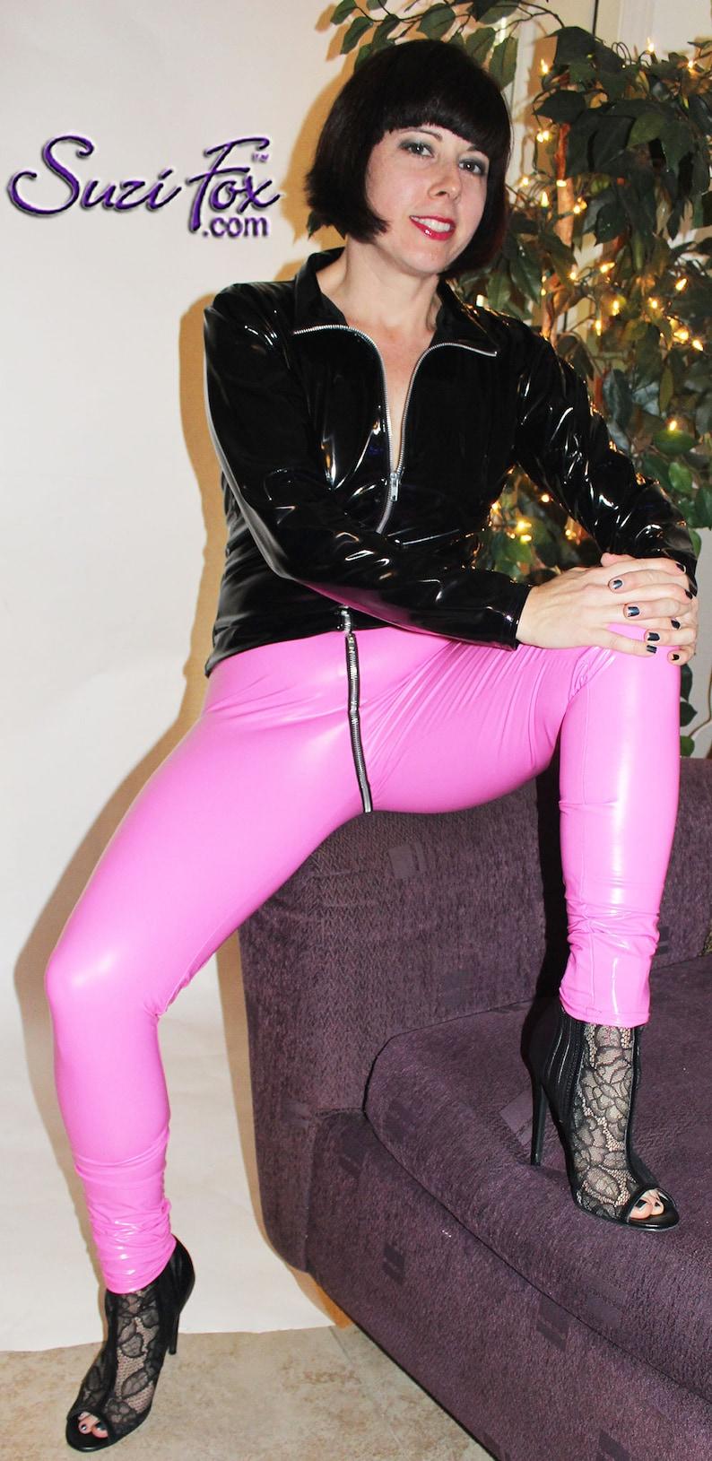 Hiphugger Crotch Zipper Leggings by Suzi Fox Stretch Gloss Vinyl pvc