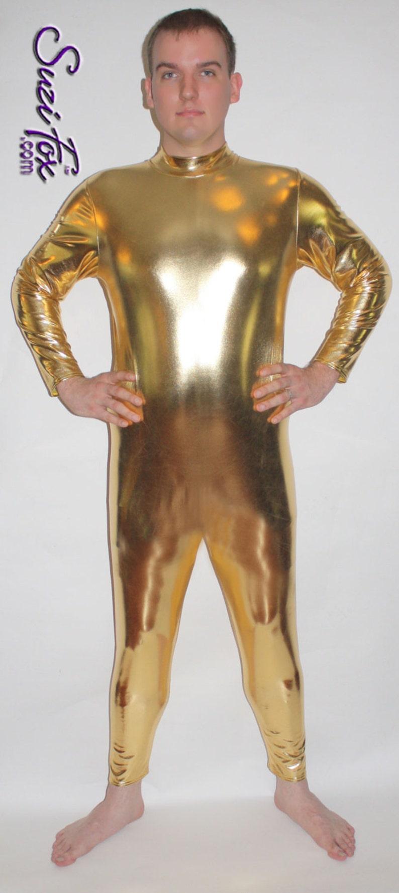 e409f2a830b Mens Back Zipper Catsuit in Shiny Gold Metallic Foil coated