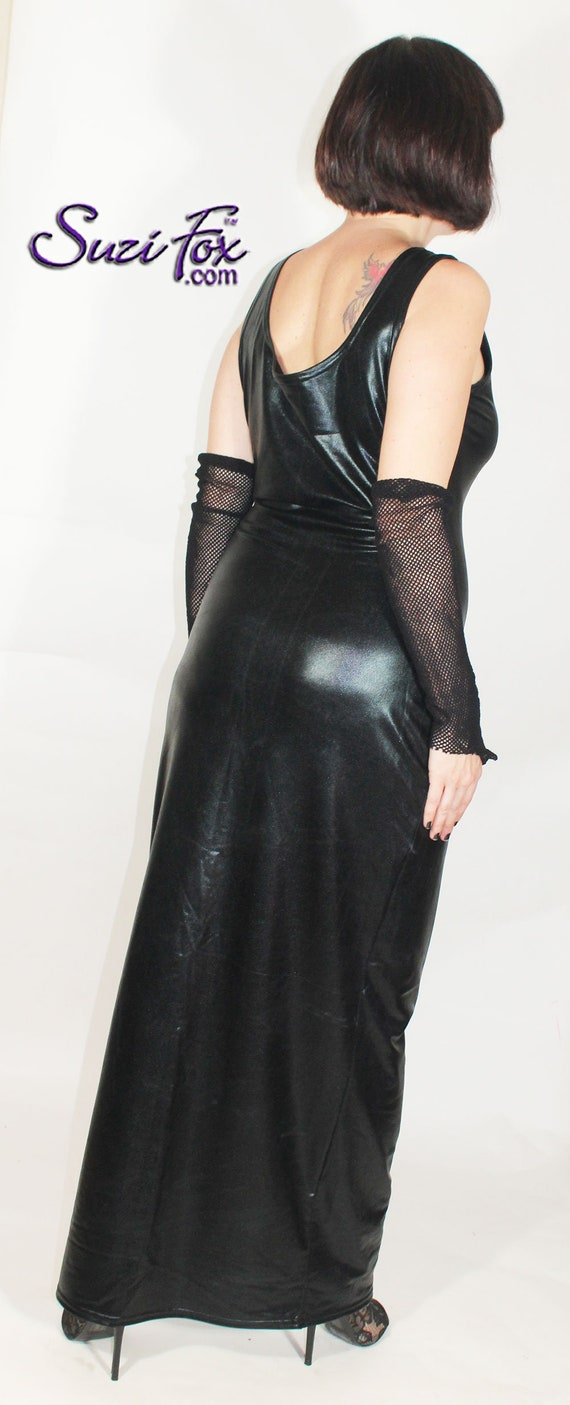 Tank style Maxi Dress in Faux Leather look Black Metallic Foil by Suzi Fox