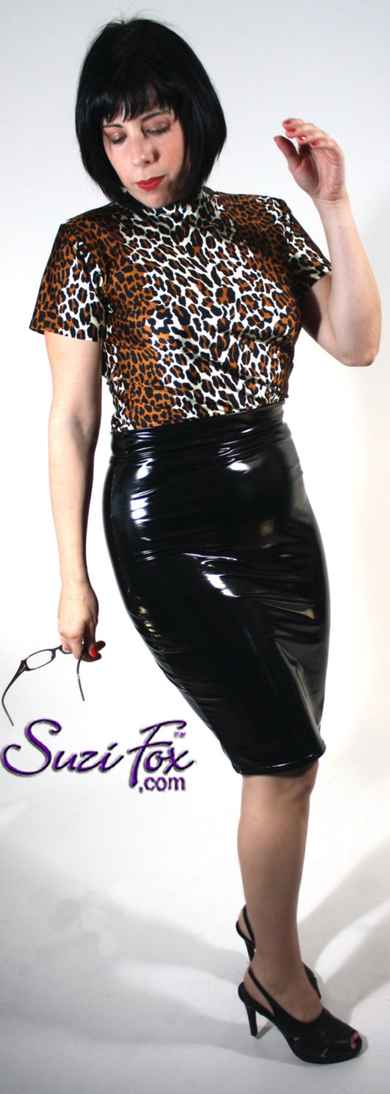 d31d94d0f Pencil Skirt in Gloss Stretch PVC Vinyl by Suzi Fox   Etsy