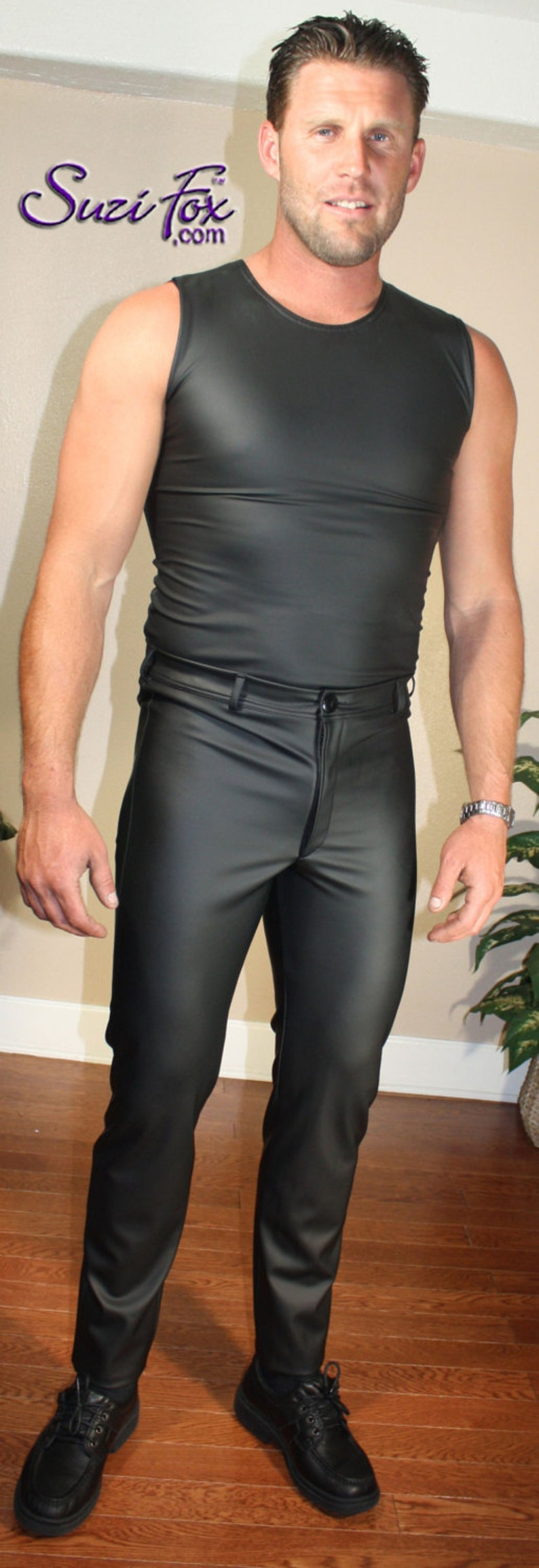 rear patch pockets and belt loops by Suzi Fox in stretch Vinyl pvc Mens jean style pants with fly zipper front