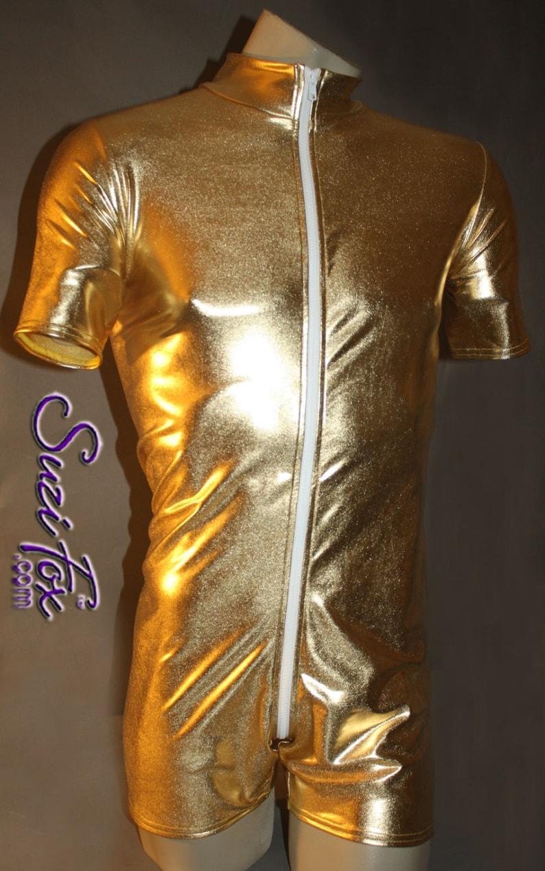 001d03fcbe4 Mens Romper Catsuit in Shiny Gold Metallic Foil coated Spandex