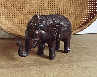 Antique Cast Bronze Sitting Lucky Elephant Antiques Asian Antiques