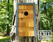 Modern Geometric Birdhouse -  Gray with Cedar Face Finished with Natural Danish Oil
