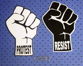 Protest and Resist Fist Bumper Stickers Combo