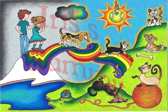 loss of pet sympathy dog heaven cat heaven rainbow bridge card etsy