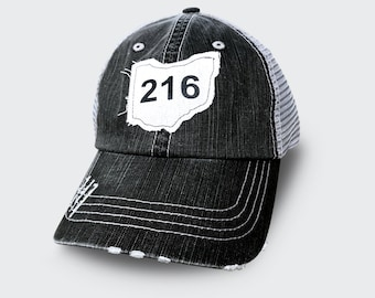Distressed 216 Cleveland Ohio trucker hat with mesh back 5cc9e877b9fd