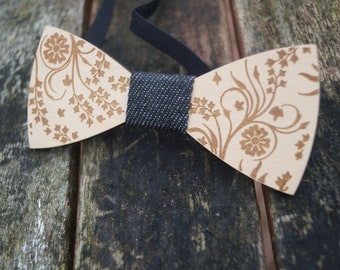 bfb15804637b Wooden bow tie, formal wear bowtie, wooden dickie bow, wooden tie, mens bow  tie, engraved bow tie, personalised bow tie, unusual bow tie