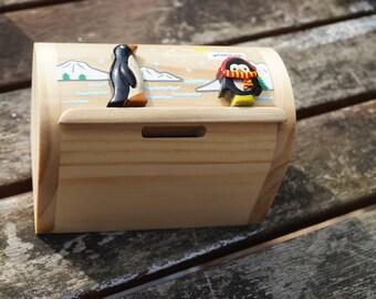 Childrens wooden money box, personalised money box, penguin money box, treasure chest money box, childrens birthday gift, animal moneybox,