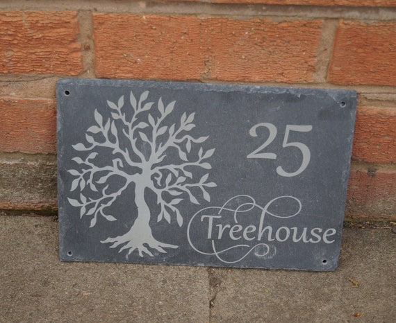 personalised slate house name plaque with tree motif personalised