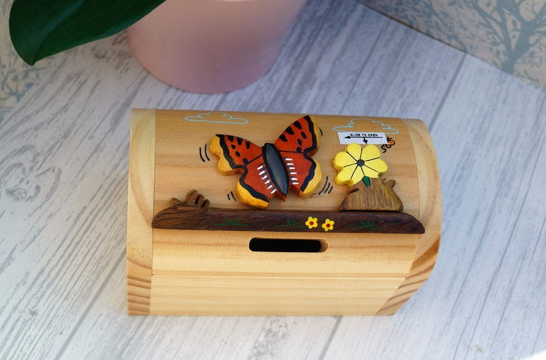 Childrens Wooden Money Box Personalised Money Box Animal Money Box Treasure Chest Money Box Childrens Birthday Gift Butterfly Moneybox