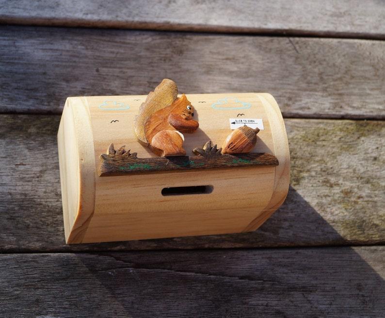 Childrens Wooden Money Box Personalised Money Box Animal Money Box Treasure Chest Money Box Childrens Birthday Gift Squirrel Moneybox