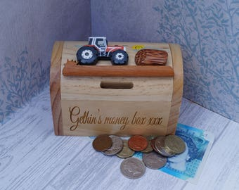 Childrens wooden money box, personalised money box, tractor money box, treasure chest money box, childrens birthday gift, vehicle moneybox,
