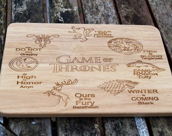 Wooden cheese board, chopping board, Game Of Thrones, GOT, serving platter, game of thrones, personalised gift, wooden board