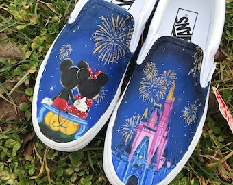 d6dece9512 Minnie and Mickey Mouse Disney World inspired Custom Painted Vans