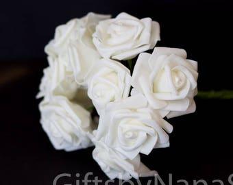 Silk flowers etsy creamy white foam roses 10pc foam roses bulk silk flowers cheap silk flowers wedding flowers cheap soft touch flowers white foam roses mightylinksfo