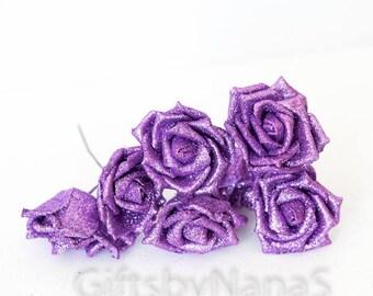 Purple silk flowers etsy lavender glitter roses 6pc light purple silk flowers artificial purple roses fake flowers wedding flowers purple glitter roses mightylinksfo