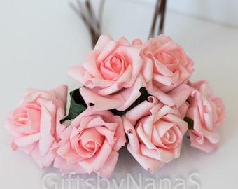Cheap silk flowers etsy 6pc blush pink roses foam silk flowers valentines day roses pink silk flowers mightylinksfo