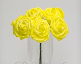 Yellow silk flowers etsy yellow foam roses 9pc bulk foam roses real touch flowers canary yellow roses wedding flowers yellow silk flowers diy wedding bouquet mightylinksfo