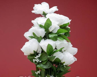 Etsy your place to buy and sell all things handmade 24pc white silk flowers silk roses with stems silk flowers bulk silk flower arrangement centerpiece diy white fake flower bouquet mightylinksfo