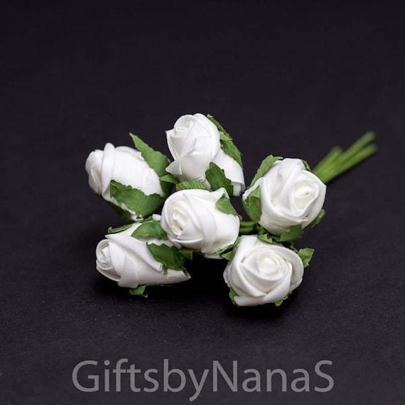 White foam rosebuds 48pc white rosebuds bulk silk flowers etsy image 0 mightylinksfo