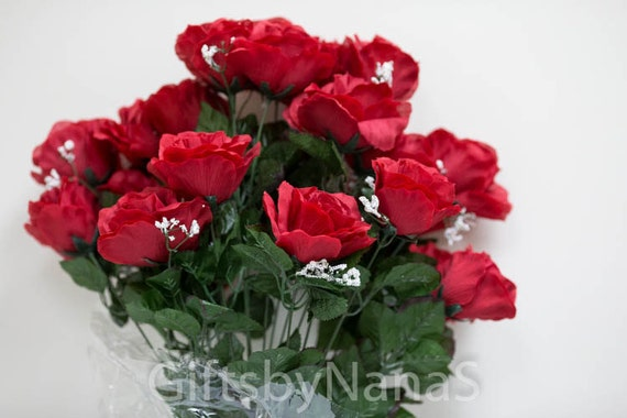 24pc red silk flowers valentines day roses apple cherry red etsy image 0 mightylinksfo