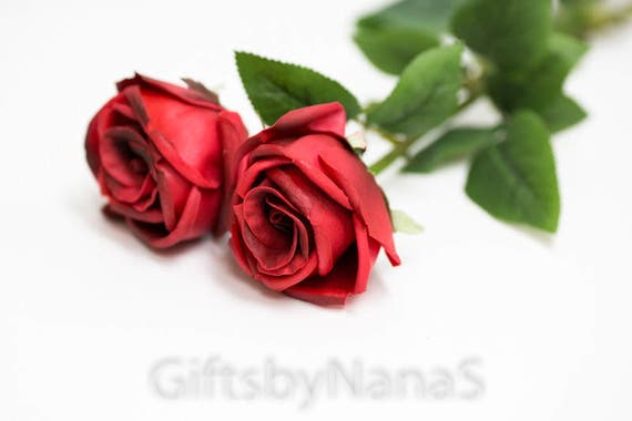 Red real touch flowers real touch roses dark red silk roses etsy image 0 mightylinksfo