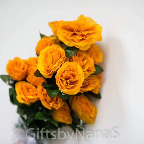 Orange Silk Roses 24pc Orange Fake Flowers Cheap Silk Etsy