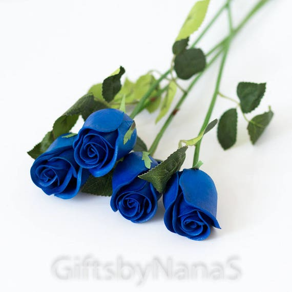 Royal Blue Real Touch Flowers Real Touch Rose Buds Horizon Etsy