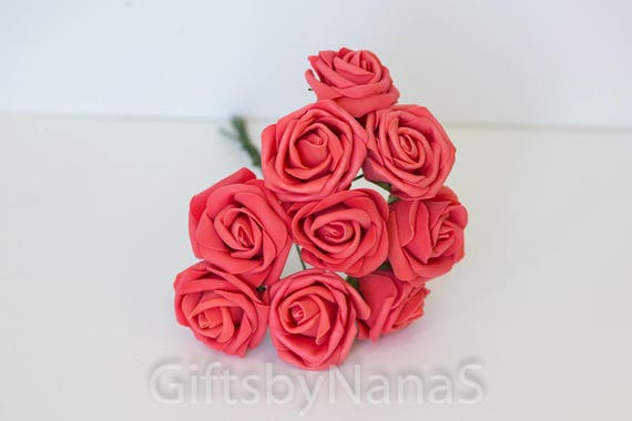 Guava Red Foam Roses 9pc Vintage Red Silk Flowers Cheap Silk Etsy