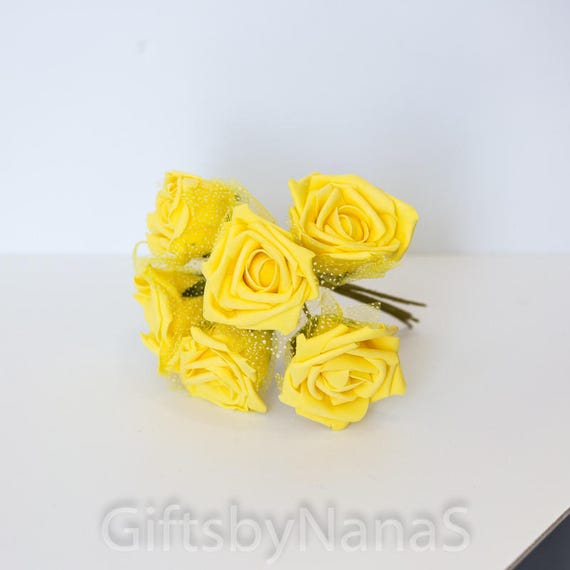 72pc yellow foam roses silk flowers flowers with tulle lace etsy image 0 mightylinksfo