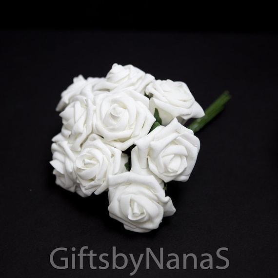 White foam roses bulk white roses real touch flowers white etsy image 0 mightylinksfo