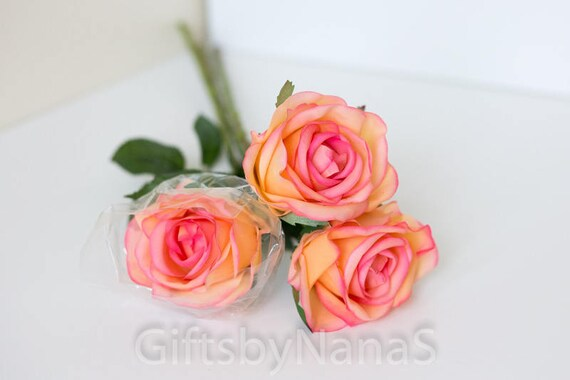 Peach real touch flowers blush pink latex flowers tropical etsy image 0 mightylinksfo