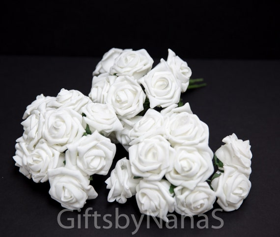 White foam roses large white roses bulk silk flowers cheap etsy image 0 mightylinksfo