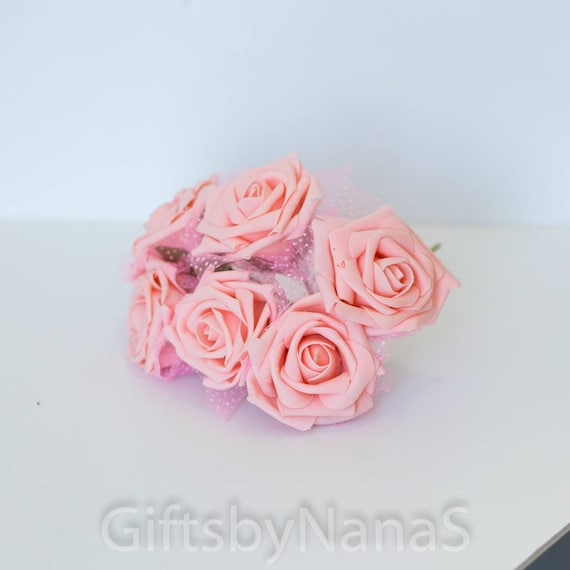 Blush pink foam roses 6pc silk flowers flowers with tulle etsy image 0 mightylinksfo