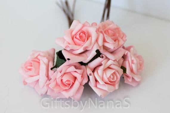 6pc blush pink roses foam silk flowers valentines day etsy image 0 mightylinksfo