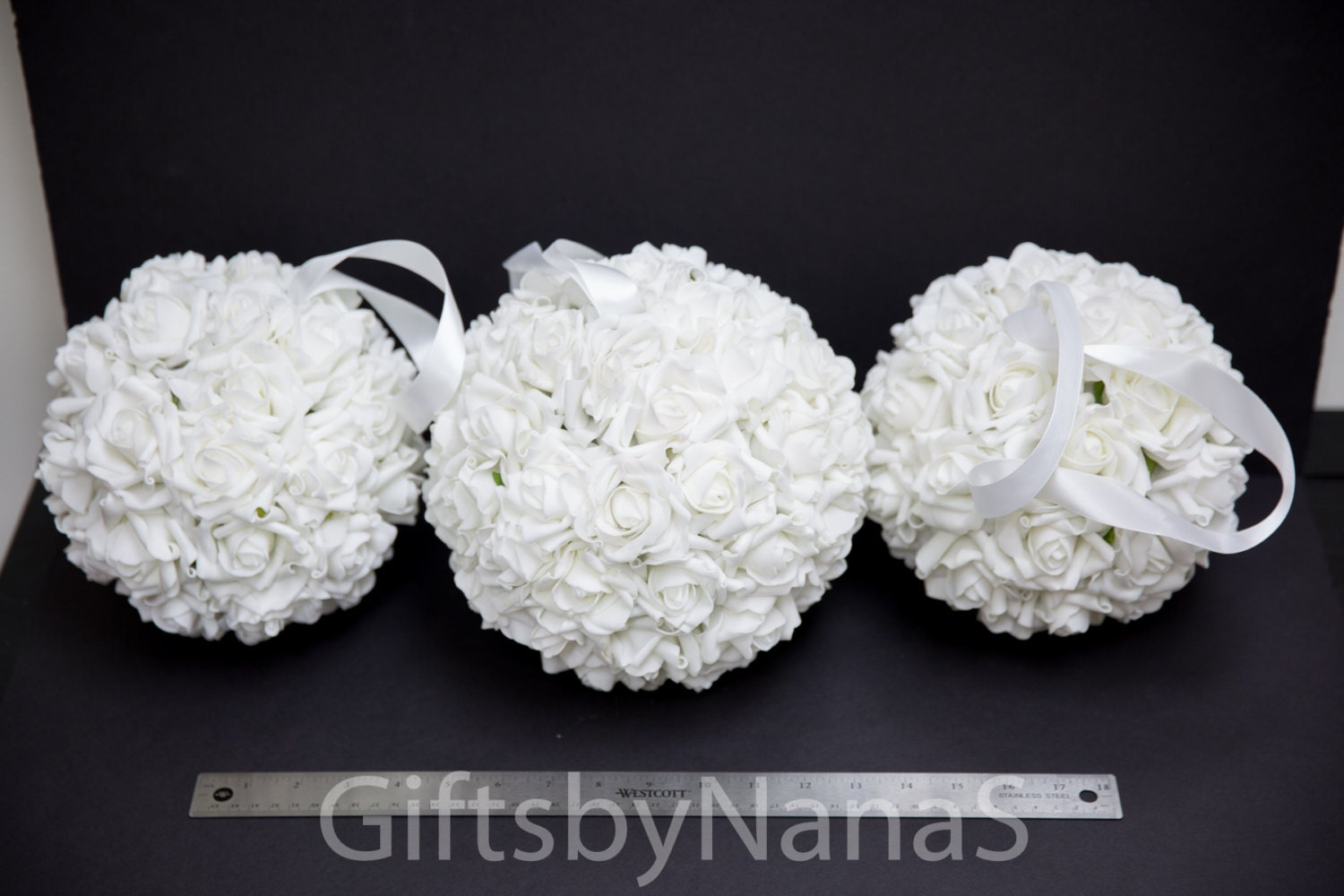 White Flower Ball White Pomander Ball Flower Girl Rose Ball Etsy