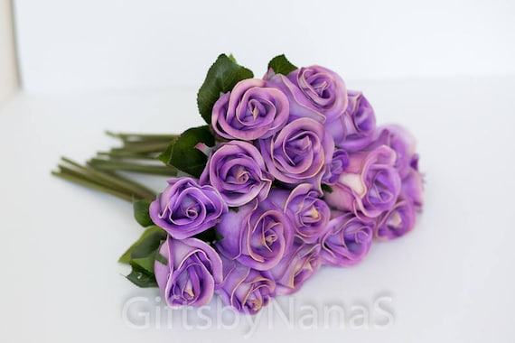 Lavender real touch flowers light purple rose buds real etsy image 0 mightylinksfo