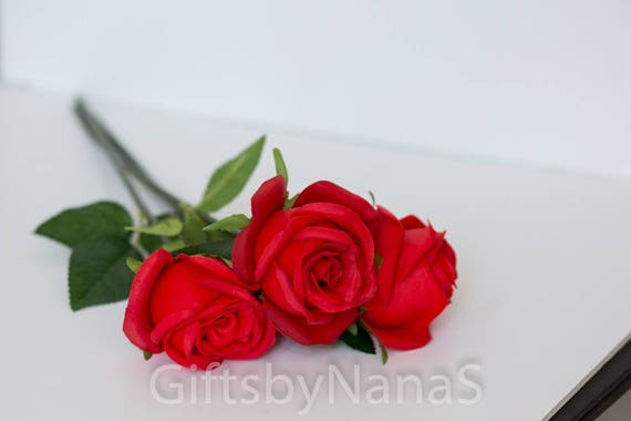 Red Real Touch Flowers Real Touch Roses Christmas Etsy