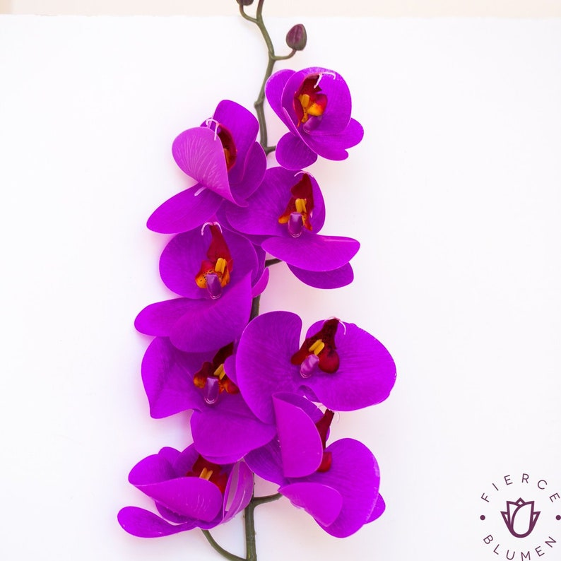 b0a896538c2 Purple real touch orchids, real touch flowers, royal purple phalaenopsis  orchid, bulk silk flowers, silk orchids, true touch flowers
