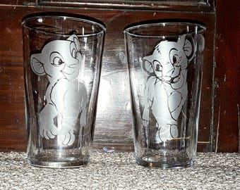 Simba and Nala inspired etched pint glasses
