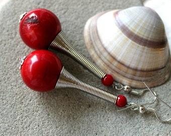 Genuine Coral Earrings, Red Coral Earrings, Coral Earrings, Boho Earrings, Tribal Earrings, Red Earrings, Ethnic Earrings, Red Coral