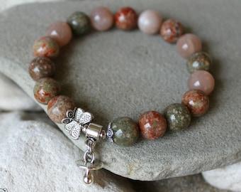 Moonstone Bracelet, Unakite Bracelet, 10mm Mooonstone Bracelet, Fertility Bracelet, Conceive Bracelet, Pregnancy Bracelet, Chakra Bracelet