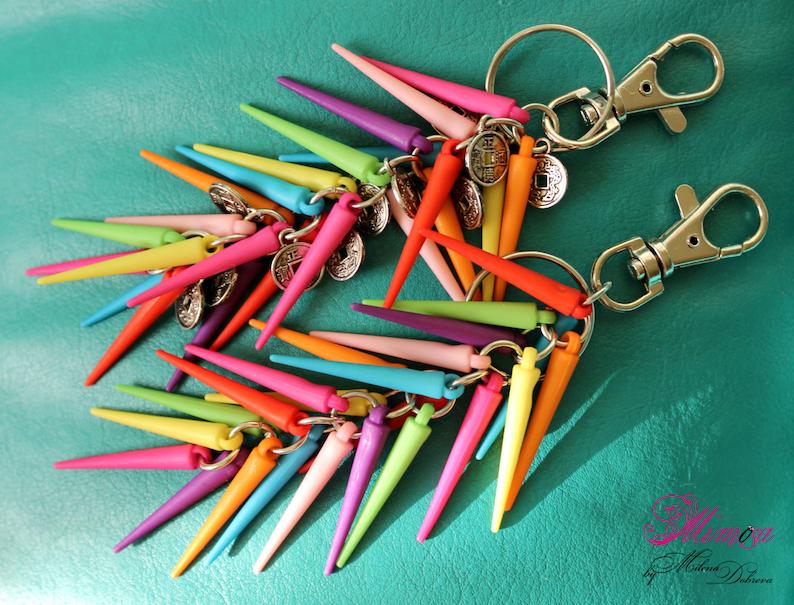 Spike Bag Charm Hippie Keychain Colorful Bag Charm Bags Accessory Purse Charm Gypsy Keychain Colorful Spikes Keychain Spikes Keyring