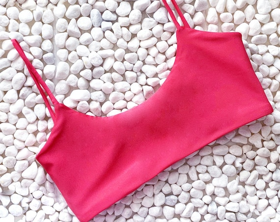 Scoop Neck Bikini Top | Salmon
