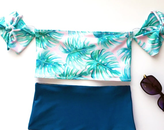 Off the Shoulder Bikini Top | Pink Palm