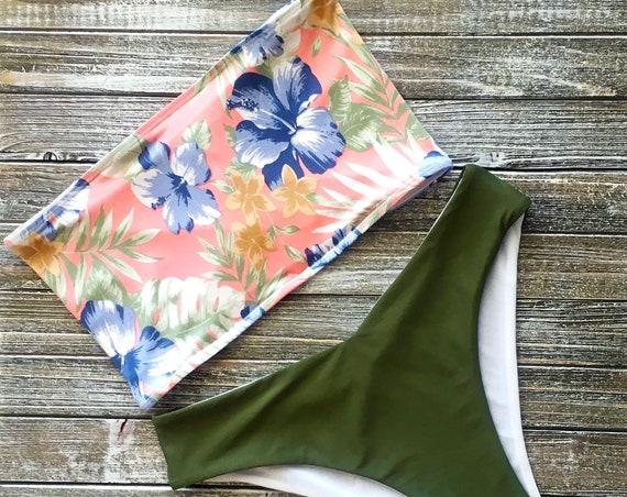 Bandeau Bikini Top | Tropical