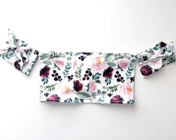 Off the Shoulder Bikini Top | Maroon Floral
