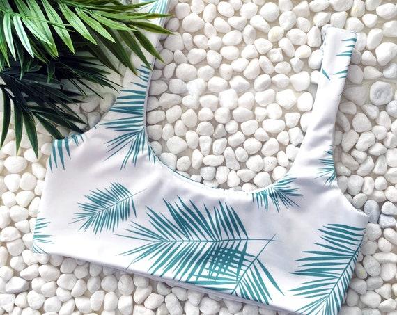 Scoop Neck Bikini Top | Green Palm