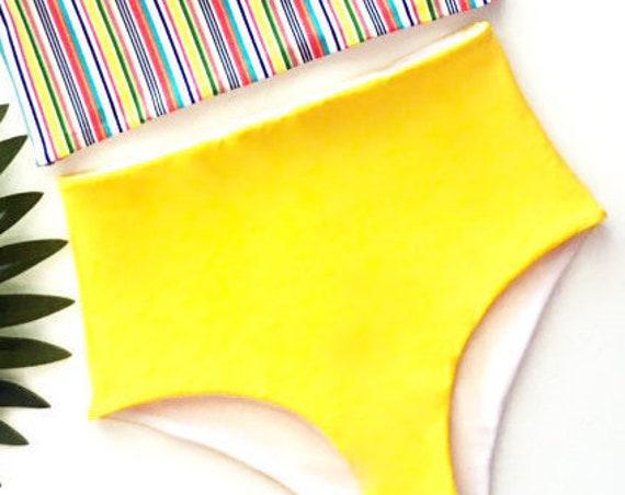 Yellow High Waisted Bikini Bottoms
